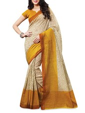 Yellow Printed Banarasi Silk Saree - By