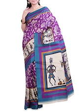 Purple Warli Printed Bhagalpuri Silk Saree - By