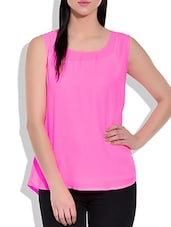 Pink Plain Sleeve-less Georgette Top - By