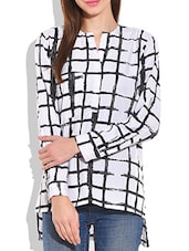 White And Black Poly Crepe Check Box Printed Top - By