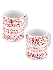 White Printed Ceramic Coffee Mugs (Set Of 2) - By