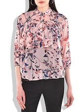 Peach Colour Floral Printed Classic Top - By