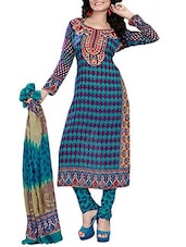 Purple & Green Poly Georgette Printed Unstitched Suit Set - By