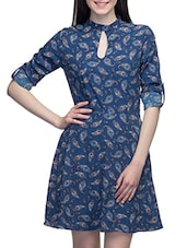 Blue Dress With Roll Up Sleeves - By