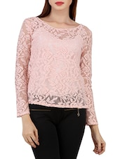 Pink Cotton Nylon Lace Fabric Top - By