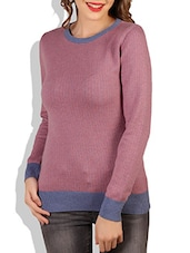 Pink Round Neck Cotton Sweater - By