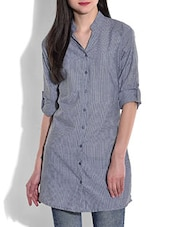 Stone Blue Buttoned Cotton Top - By