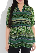 Green Printed Rayon Top - By