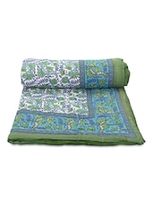 Green Printed Cotton Reversible Single Bed Quilt - By