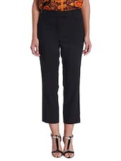 Solid Black Ankle Length Pants - By