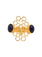 Blue Stone Encrusted Gold Plated Filigree Ring - By