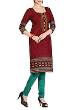 Maroon Printed Cotton Unstitched Suit Set - By