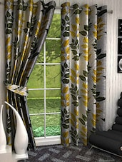 Set Of 2 Yellow And Green Leaves Printed Door Curtains - By