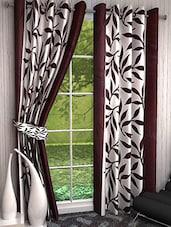 Set Of 4 Dark Brown Leaves Printed Door Curtains - By