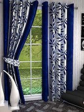 Set Of 2 Blue Leaves Printed Long Door Curtains - By
