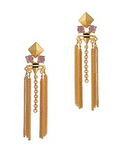 Gold Embellished Tassel Drop Earrings - By