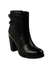 Black Block-Heeled Faux Leather Boots -  online shopping for boots