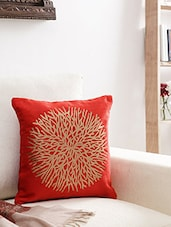 Brick Red And Gold Velvet Abstract Cushion Cover - By