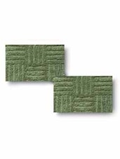Green Cotton Textured Set Of Two Bath Rugs - By