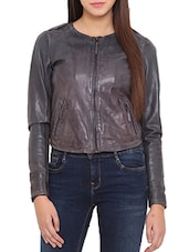 Dark Grey Pure Leather Short Jacket - By