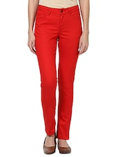 Solid Red Cotton Elastane Pants - By