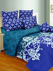 Purple Cotton Double Comforter With Reactive Print -  online shopping for comforters