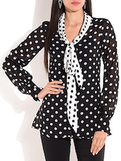Black And White Polygeorgette Top - By