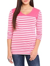 Pink And White Striped Quarter Sleeved Viscose Top - By