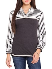 Charcoal Grey Striped Viscose Top - By