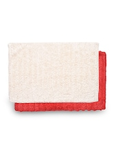 Set Of 2 Red And Cream Rectangular Ribbed Cotton Doormats - By