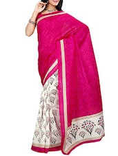 Magenta And Off White Printed Art Silk Saree - By