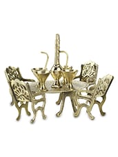Fully Handcrafted Brass Mini Chair Table Showpiece - By