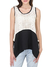 White And Black Laced Top - By