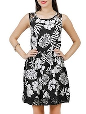 Black And White Cotton Floral Printed Dress - By