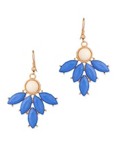 Gold, White , Blue Metal Alloy, Acrylic Bead Drop  Earring - By