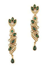 Gold And Green Stone Work Crystal Studded Earrings - By