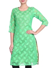 Green Chanderi Silk Embroidered Kurta - By