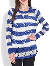 Royal Blue And White Striped Acrylic Sequined Pullover - By