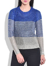 Royal Blue Striped And Sequined Acrylic Hi-low Pullover - By