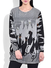 Black And Grey Cats Printed Acrylic Studded Pullover - By