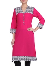 Pink & White Printed Cotton Kurta - By