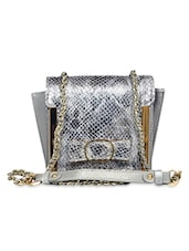 Silver Genuine Leather  Sling Bag - By