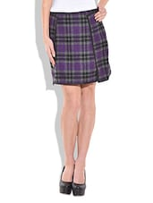 PURPLE WOOLLEN CHECK PRINT SKIRT WITH PIPING - By
