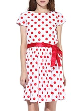 White And Red Polka Dotted Dress - By