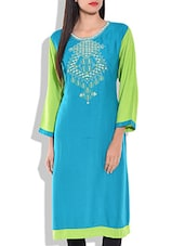 Blue Green Embroided Kurta - By