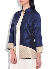 Navy Blue Full Sleeve Long Jacket - By