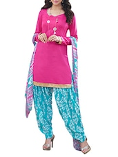 Pink And Sky Blue Printed Unstitched Suit Set - By