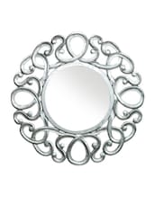 Silver Carved Wood Circular Mirror Frame - By