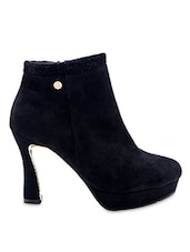 Black Faux Leather High Heeled Boots - By