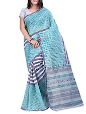 Printed Turquoise & Dark Blue Cotton Saree - By
